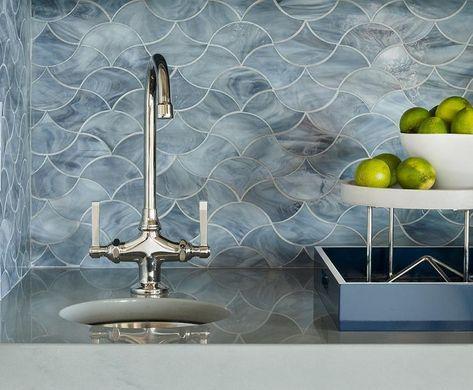 finish a bathroom with blue marble wave pattern backsplash