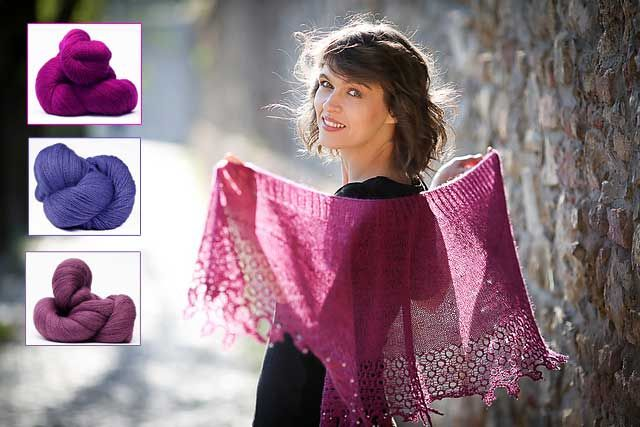 This truly lovely laceweight shawl is worked entirely in the round but surprisingly, its shape is a beautiful crescent. Bird's eye lace is so easy to knit when all stitches are worked on the right side.