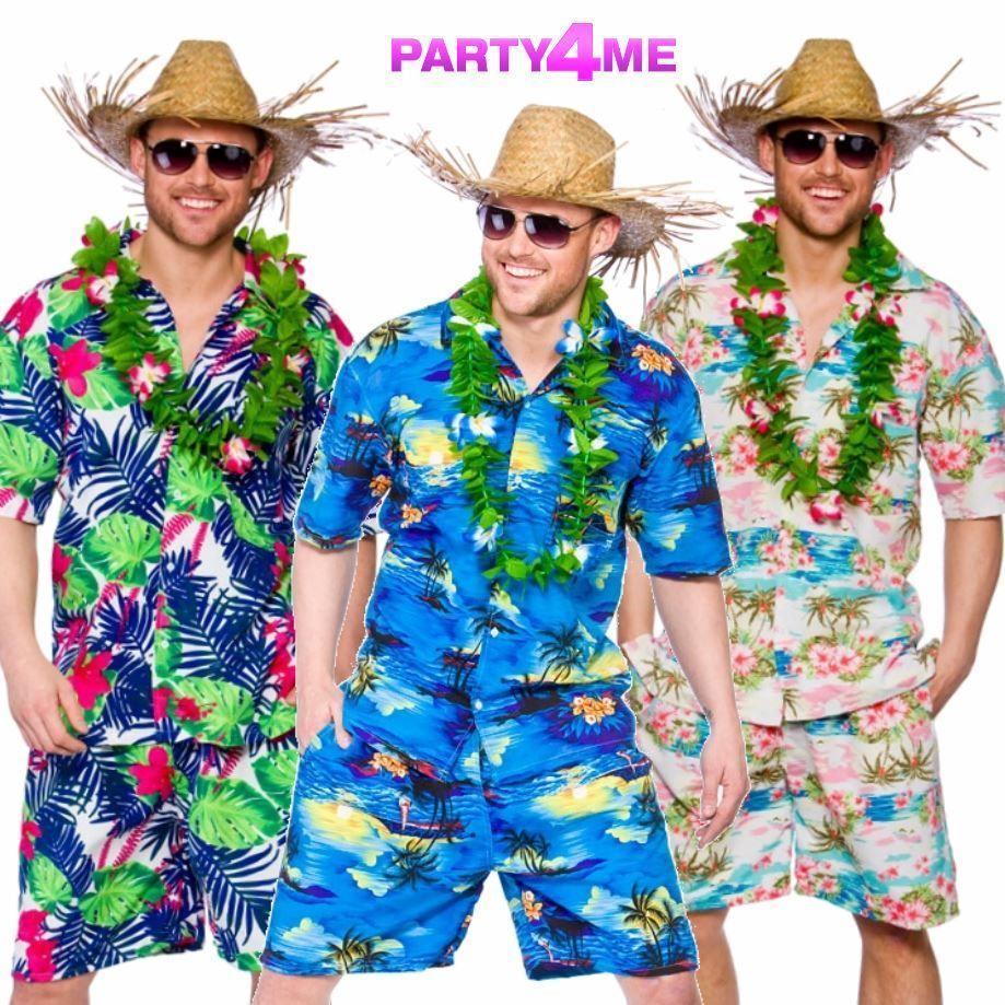 Details about MENS HAWAIIAN SHIRT SHORTS STAG RETRO BEACH LUAU TROPICAL FANCY DRESS COSTUME ...