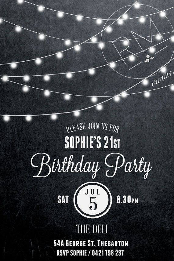 Birthday invitation, 21st birthday invite, black and white birthday ...