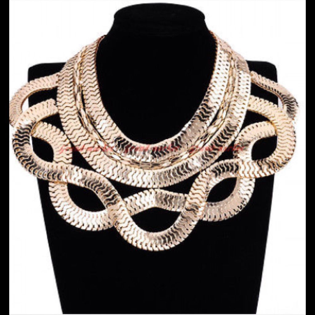 Chunky Snake Finish Gold Statement Necklace.