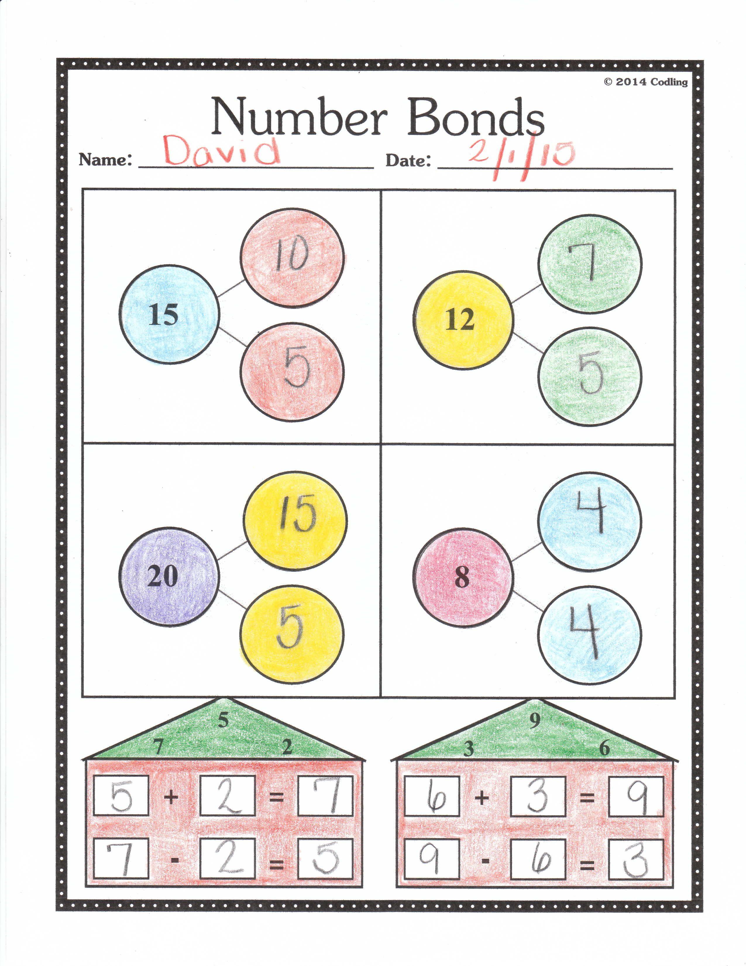 Number Bonds Worksheet First Grade First Grade Number