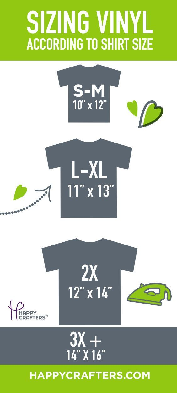 How to Size Vinyl for Small, Medium, Large, XL, 2x, and 3x Shirts