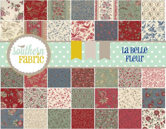 La Belle Fleur By French General For Moda 13630pp 5 Inch 42 Quilt Fabric Squares パッチワーク