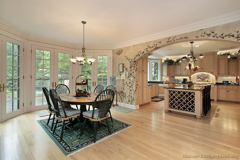 Kitchen Idea Of The Day French Country With A Large Archway Opening Up