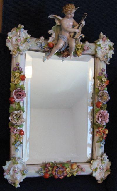 Antique Sitzendorf Mirror Cherub Flowers Easel Putti