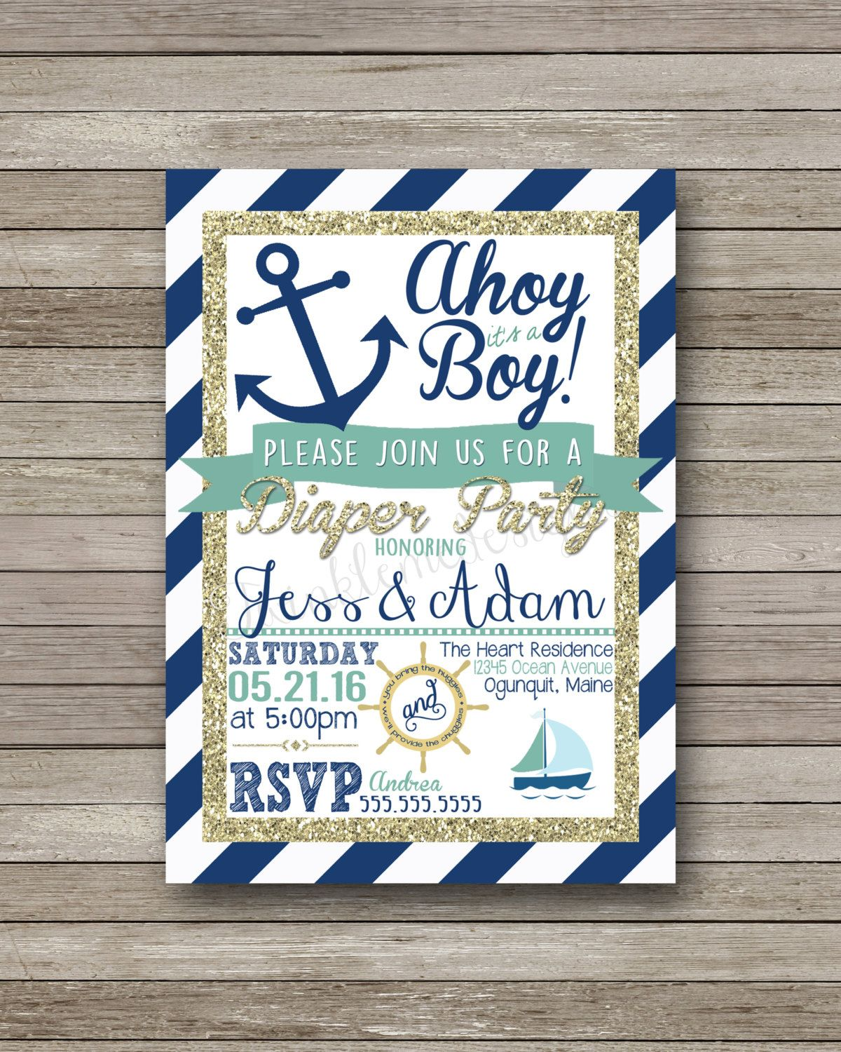 Baby Boy Nautical Diaper Party Invite, 5x7, Couple\'s Shower ...
