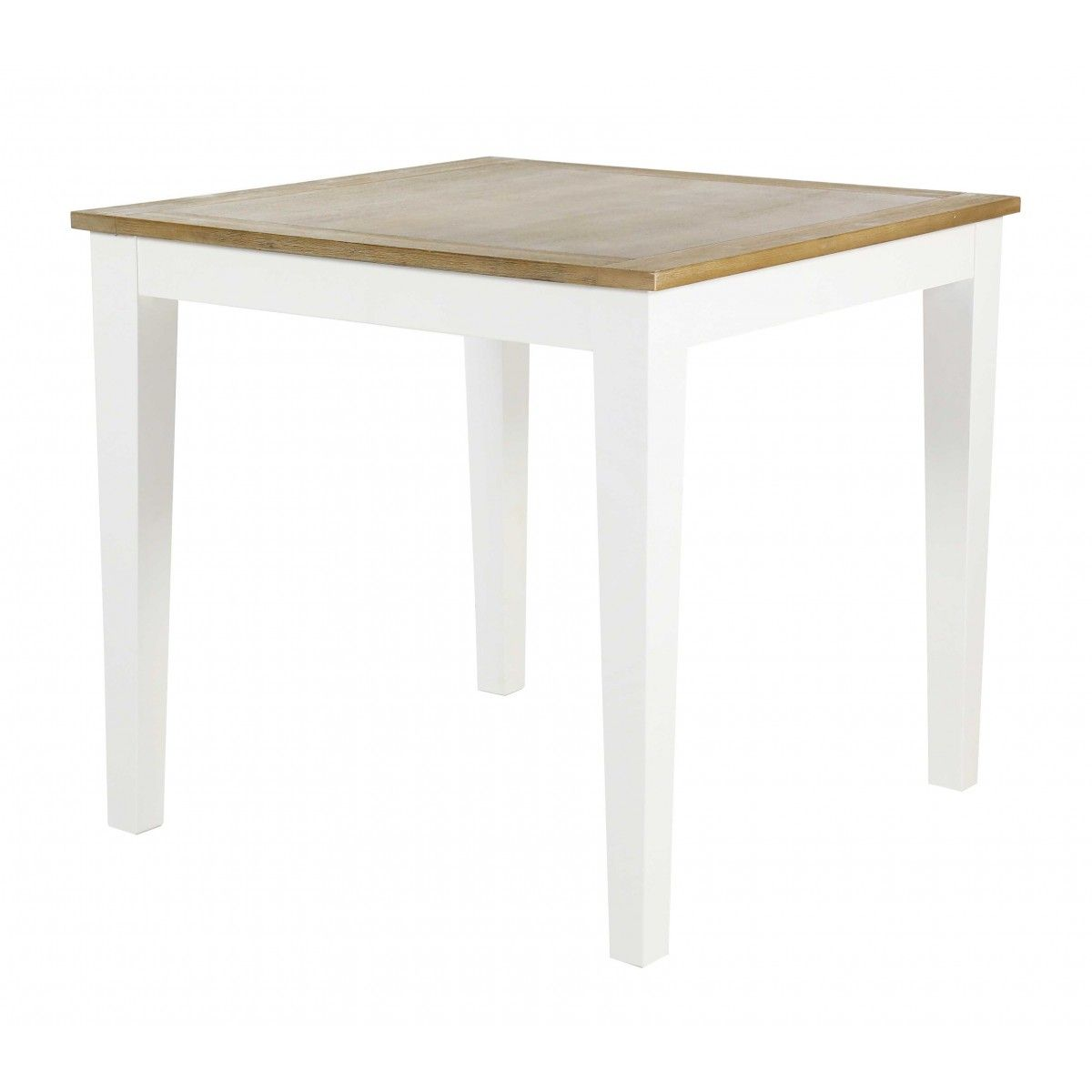 Table repas carr e blanche bois d 39 acacia 80 cm milano for Table extensible carree
