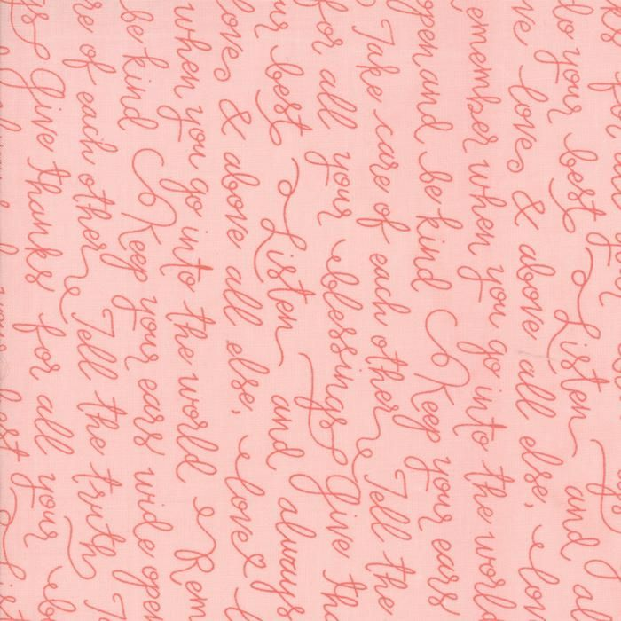 Farmers Daughter Pink Lemonade Farmhouse Script Yardage by Lella Boutique for Moda Fabrics