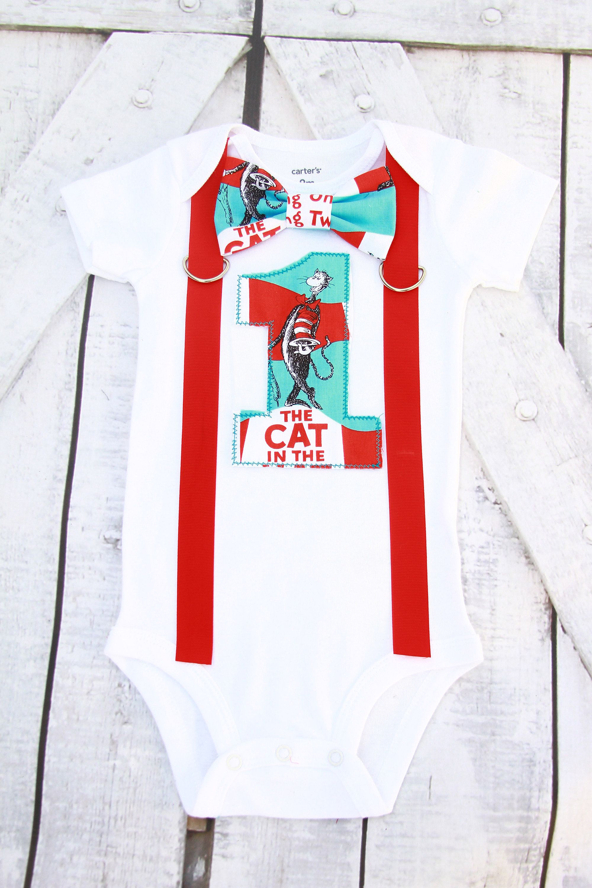 Boy First Birthday Dr Seuss Cat In The Hat Theme Bow Tie Cake Smash Outfit