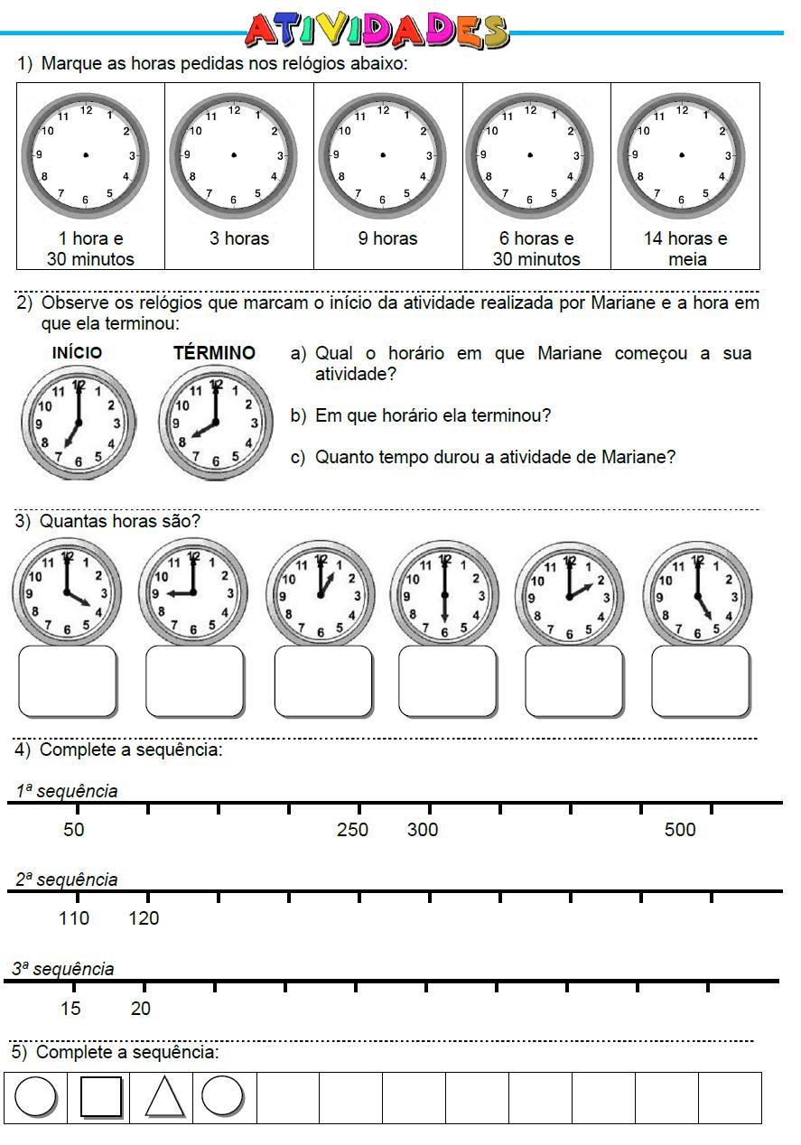 Atividades: Horas, Sequência de Números e de Figuras Geométricas | 2 ...