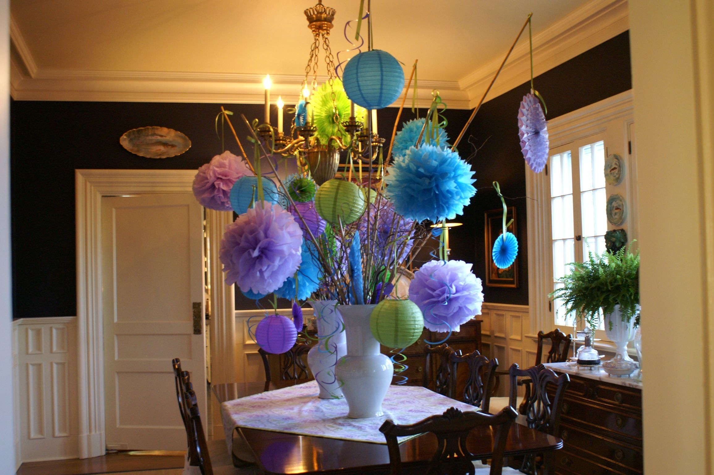 Photo SHNS Courtesy Nell Hills Paper Lanterns And Tissue Flowers Make For A Super Easy Centerpiece The Dining Room Table