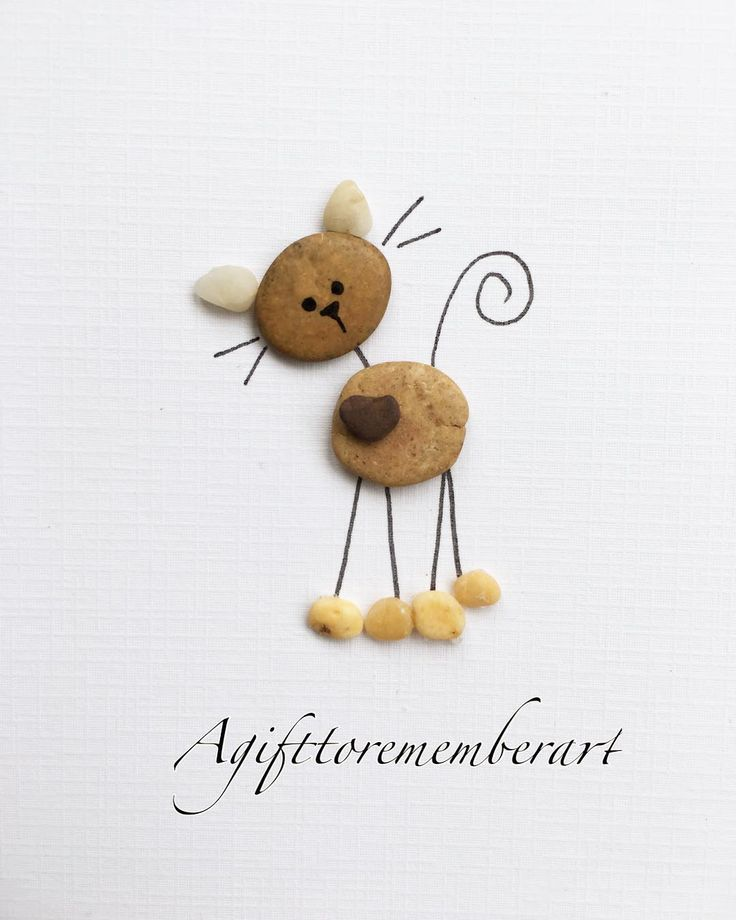 "Neshat Ghaffari on Instagram: ""Cute little cat handmade pebble card ��� #agifttorememberart #pebbleart #artoftheday #instaart #instagood #instaphoto #etsy #handmade #gift…"""