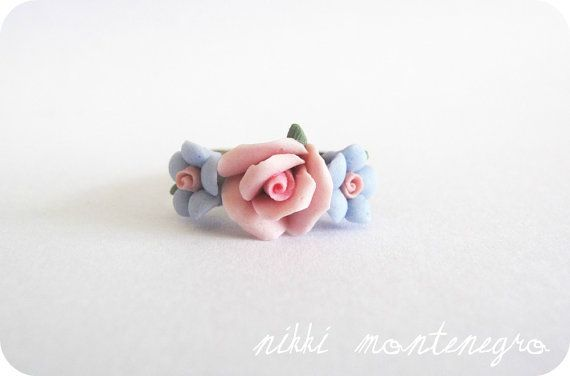 Flower Crown Ring - pastel rose pink and periwinkle floral ring ...