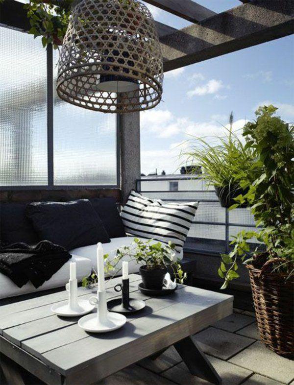 designideen für balkon graue terrassenmöbel steinpflaster ... - Outdoor Patio Design Ideen