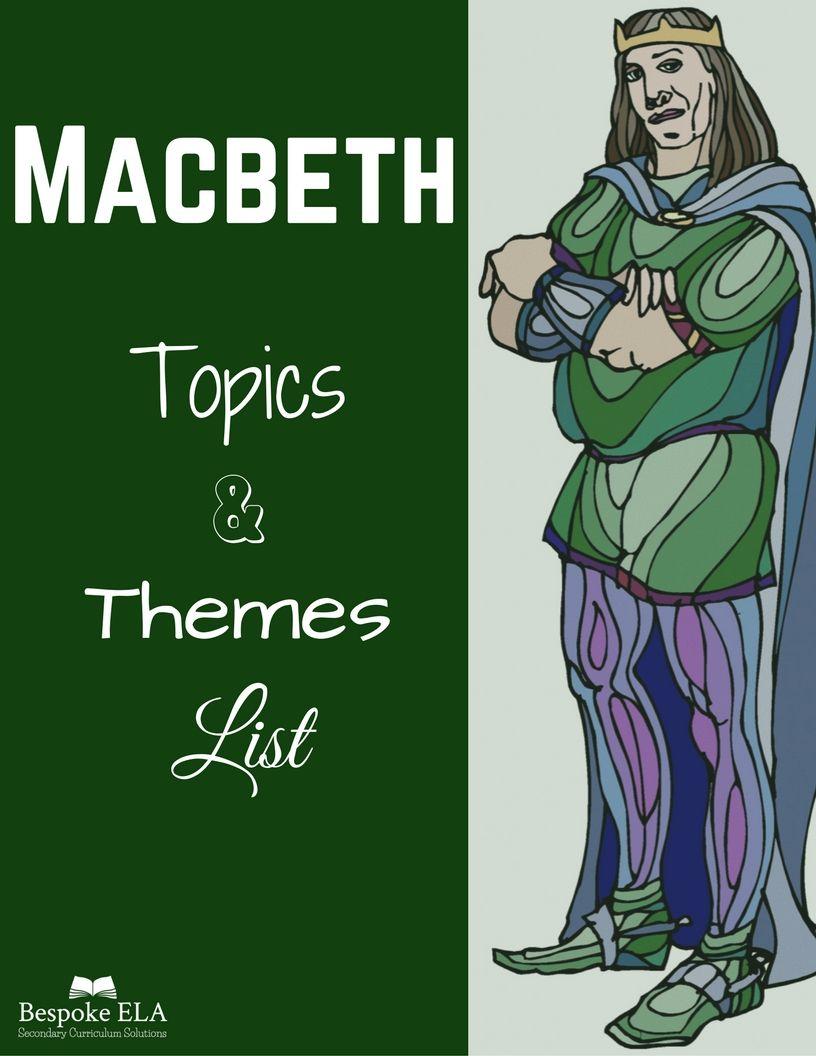 Macbeth Topics & Themes List Macbeth themes, Theme list