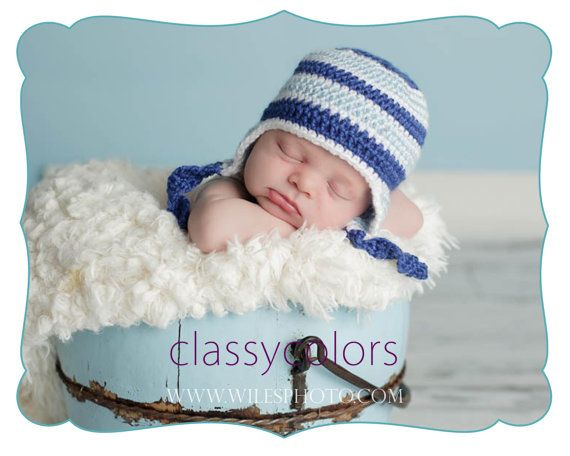 BLUE STRIPES  baby boy crochet hat in size 03 by ClassyColors, $18.00