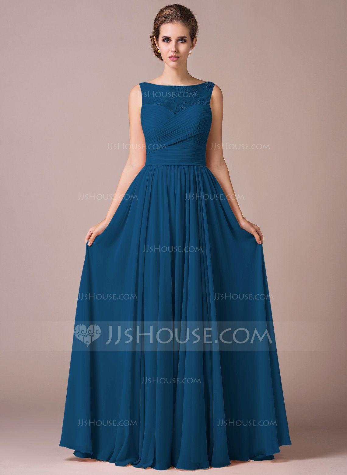 b5fc4aa27 A-Line/Princess Scoop Neck Floor-Length Chiffon Lace Bridesmaid Dress With  Ruffle (007057702) - JJsHouse
