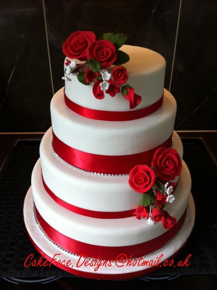 Simple Red And White Cake