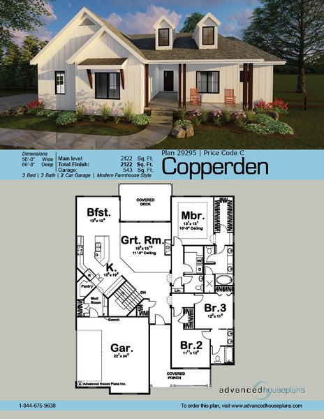 One Story Modern Farmhouse House Plan Front