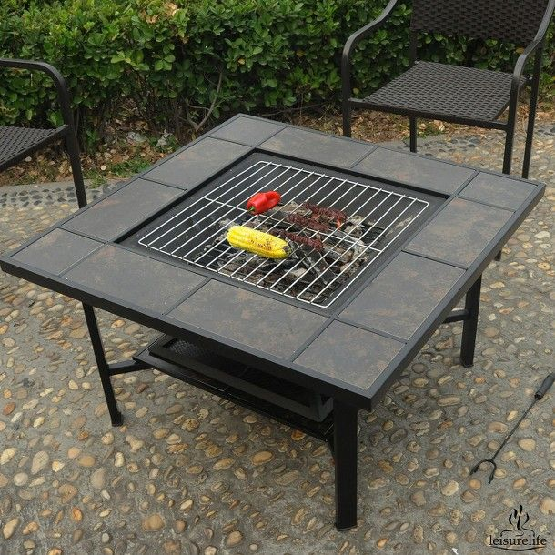 Leisurelife™ 4-in-1 Woodburning Firepit/Coffee table/Grill/ Cooler