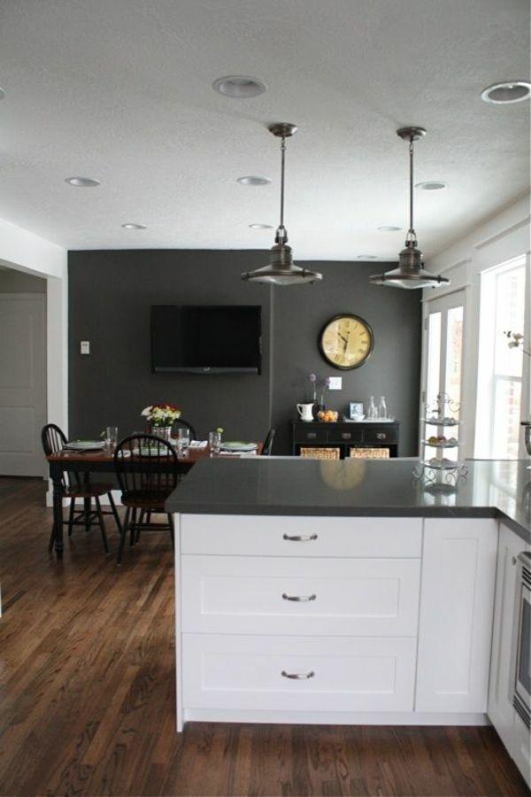 küchen design essraum wandgestaltung grau pendelleuchten Schön