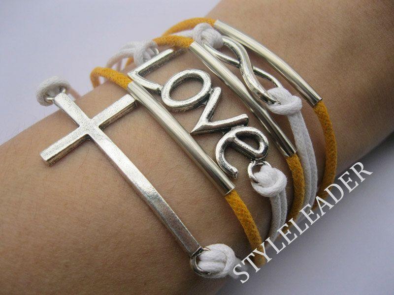 Bracelet-antique silver infinity bracelet,love Bracelet,cross bracelet. $10.99, via Etsy.