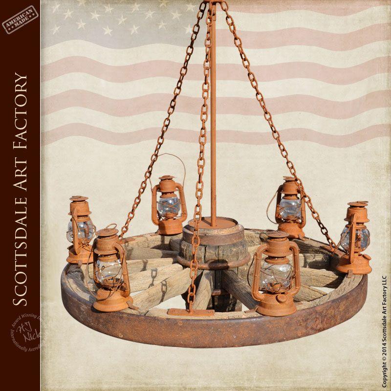 Antique wagon wheel chandelier with lanterns - custom lighting from  Scottsdale Art Factory - Antique Wagon Wheel Chandelier With Lanterns - Custom Lighting