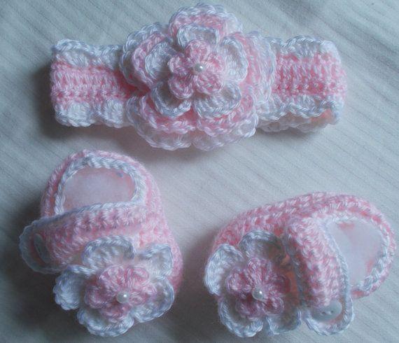 Crochet Baby Girl HandmadeHeadband Booties diaper от babybear27129, $12.00