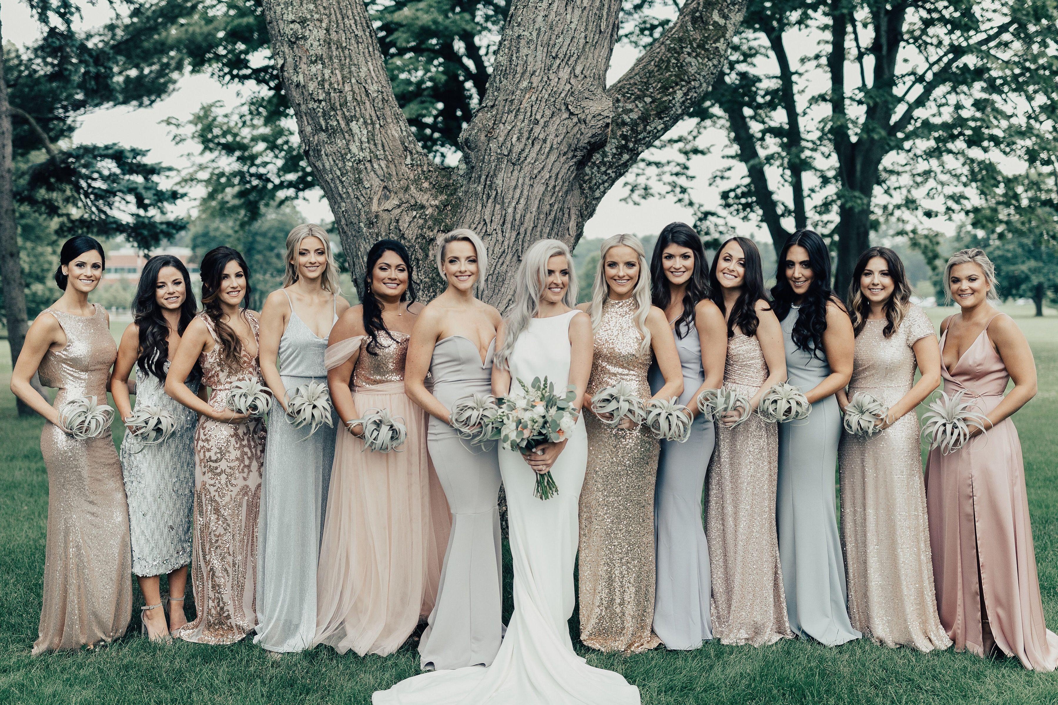 Threesistersonecloset Wedding Bridesmaids Outdoor Wedding Summer Wedding Philadelphia Wedding Rosegold An Large Bridal Parties Pastel Wedding Bridesmaid [ 2400 x 3600 Pixel ]