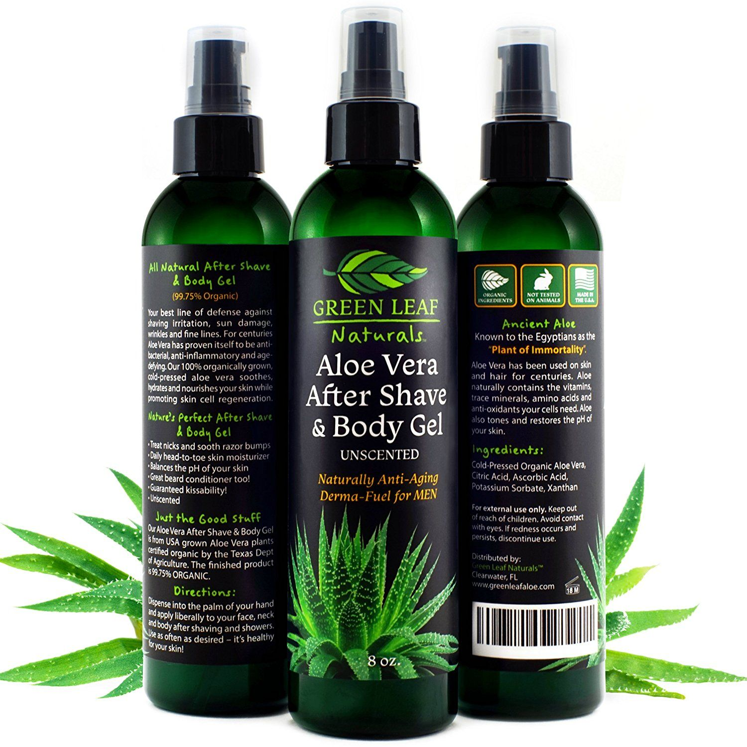 Aloe Vera After Shave and Body Gel Unscented Naturally
