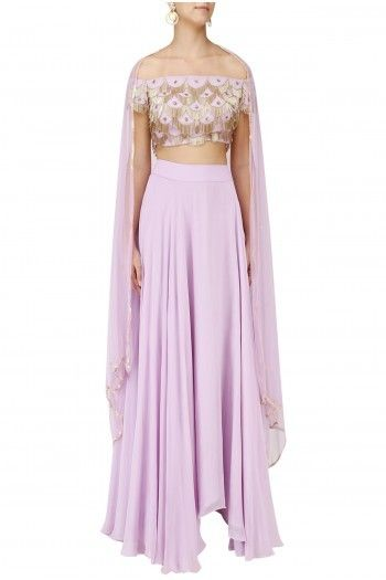 ae79b2d34e54cd Ank By Amrit Kaur Featuring a lavender off shoulder blouse in geo base with  zardozi hand