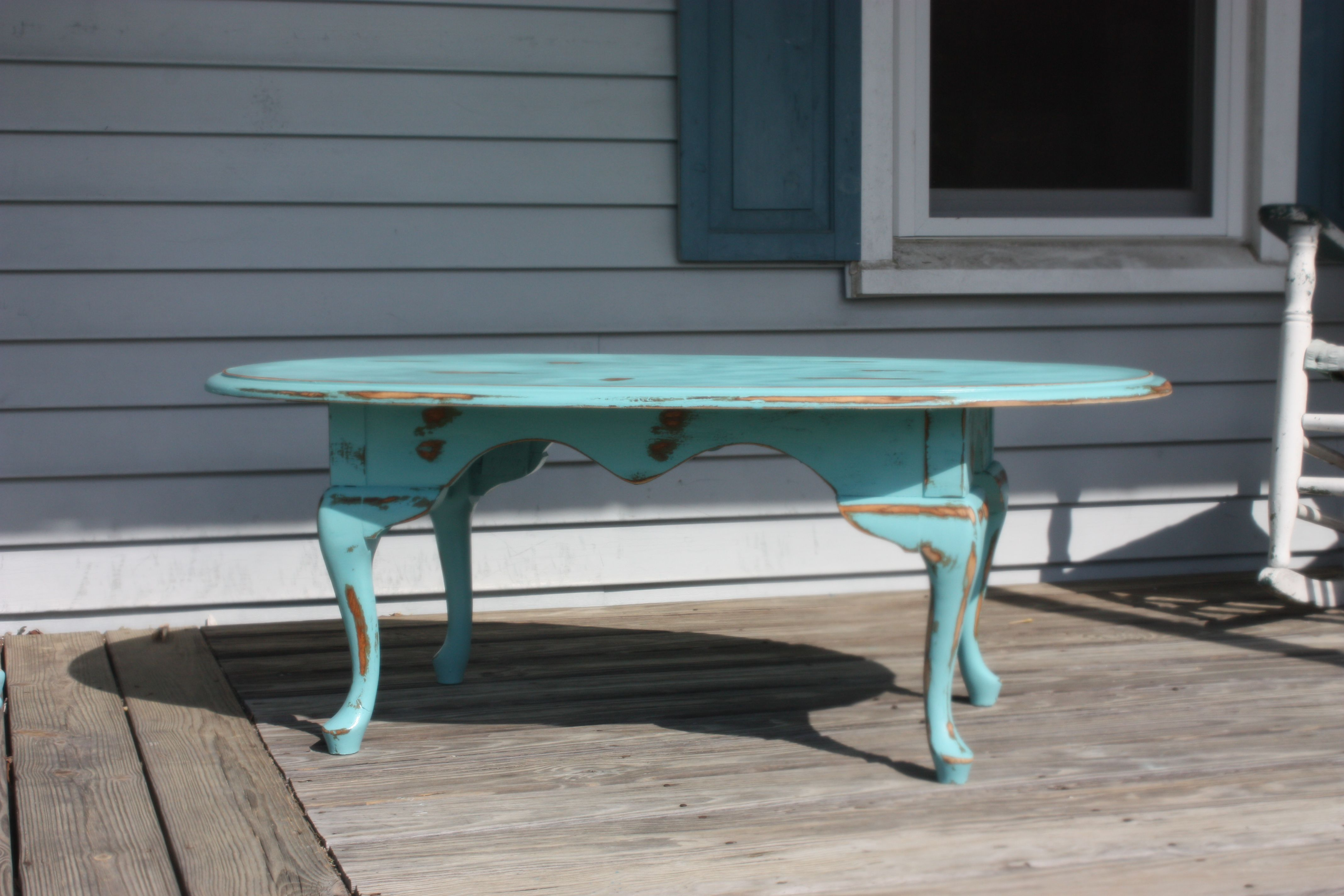 Vintage Shabby Chic Oval Queen Anne Coffee Table 130 00 Homes