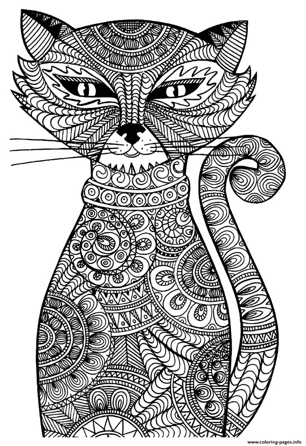 Print adult cat coloring pages awesomeness Pinterest Cat