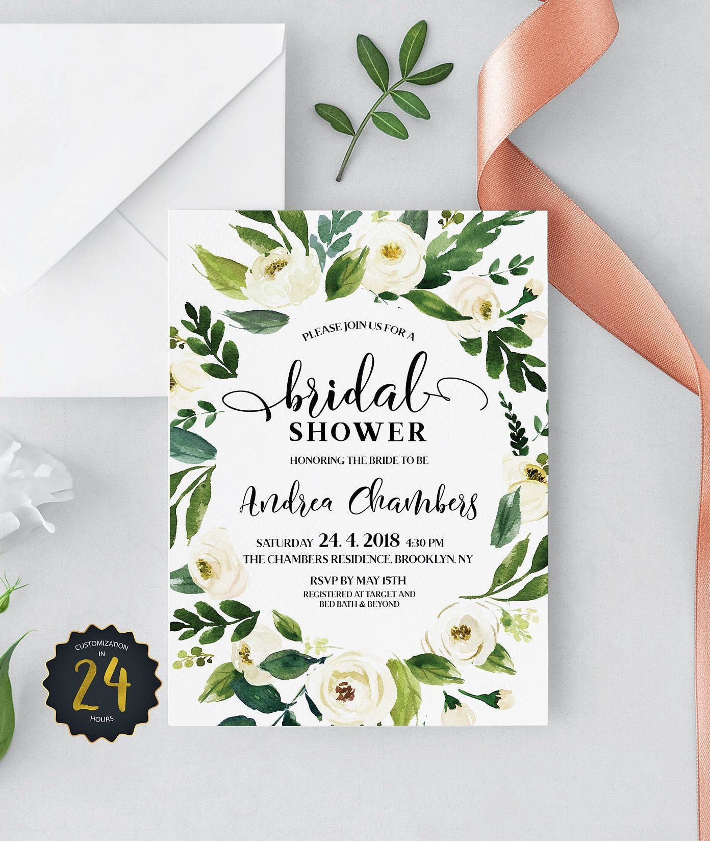 Bridal Shower Template Floral Bridal Shower Invitation  Printable Boho Bridal Shower .