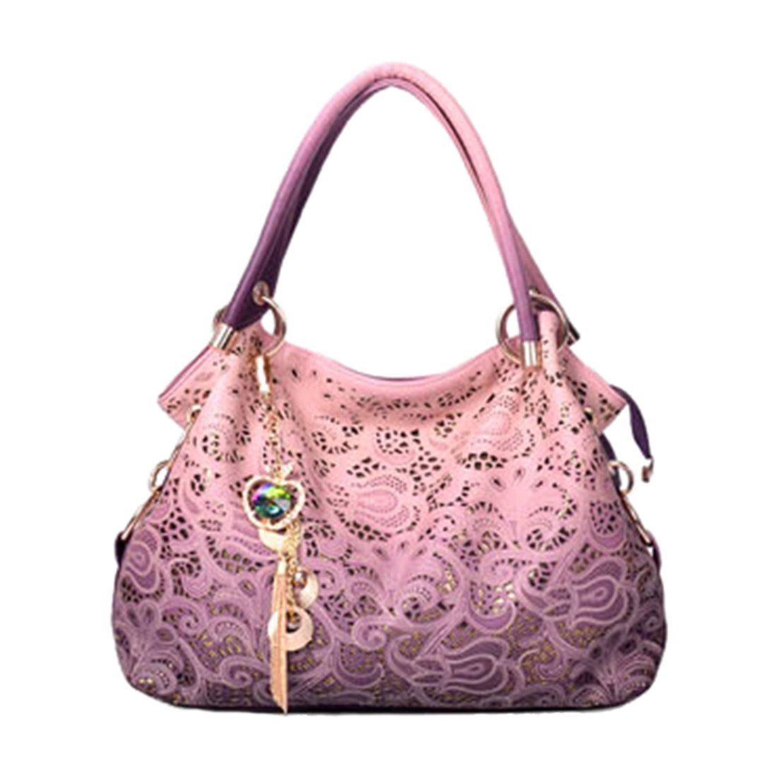 2018 women bag hollow out ombre handbag floral print shoulder bags ladies  pu leather tote bag (Color Pink) Everything Else purses handbags d2f3cc4576580