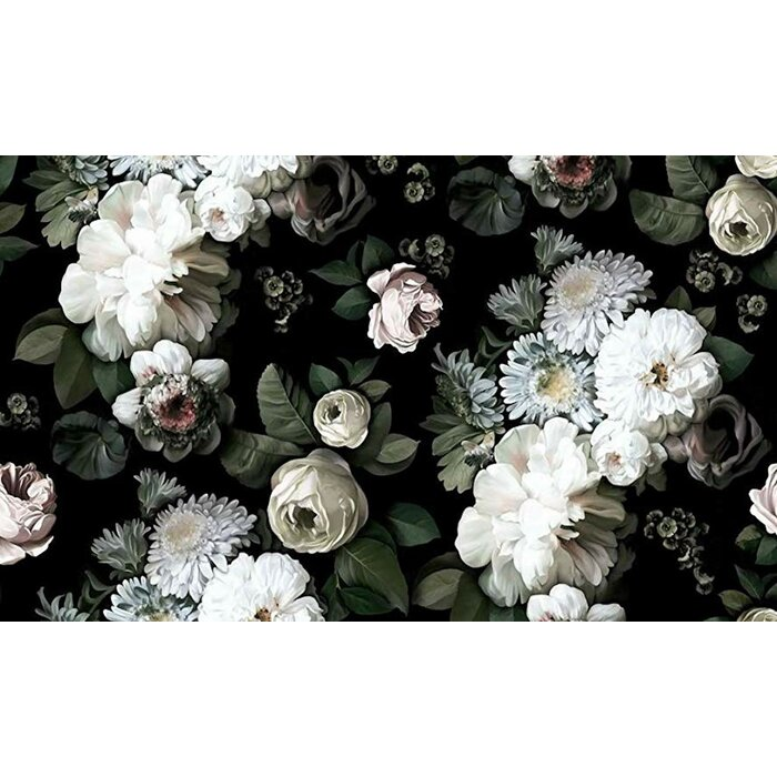 White Peony Blossom, Dark Floral Textile Wallpaper in 2020
