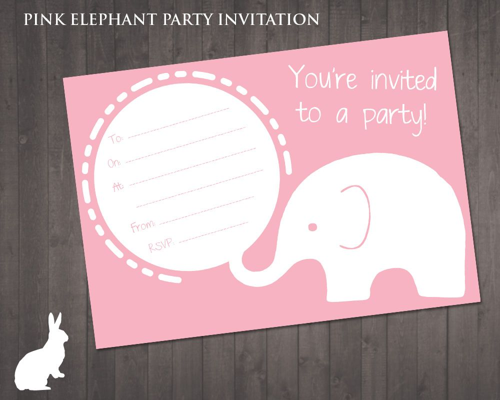 FREE Pink Elephant Party Invitation Ruby and the Rabbit – Elephant Party Invitations