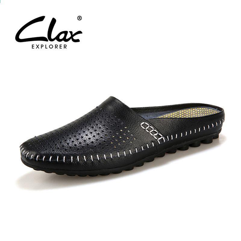 Skorzane Sandaly Meskie 2016 Letnie Oryginalne Skorzane Meskie Pantofle Oddychajace Projektant Plaski Slipper Shoes Fashion Half Shoes Leather Slippers For Men