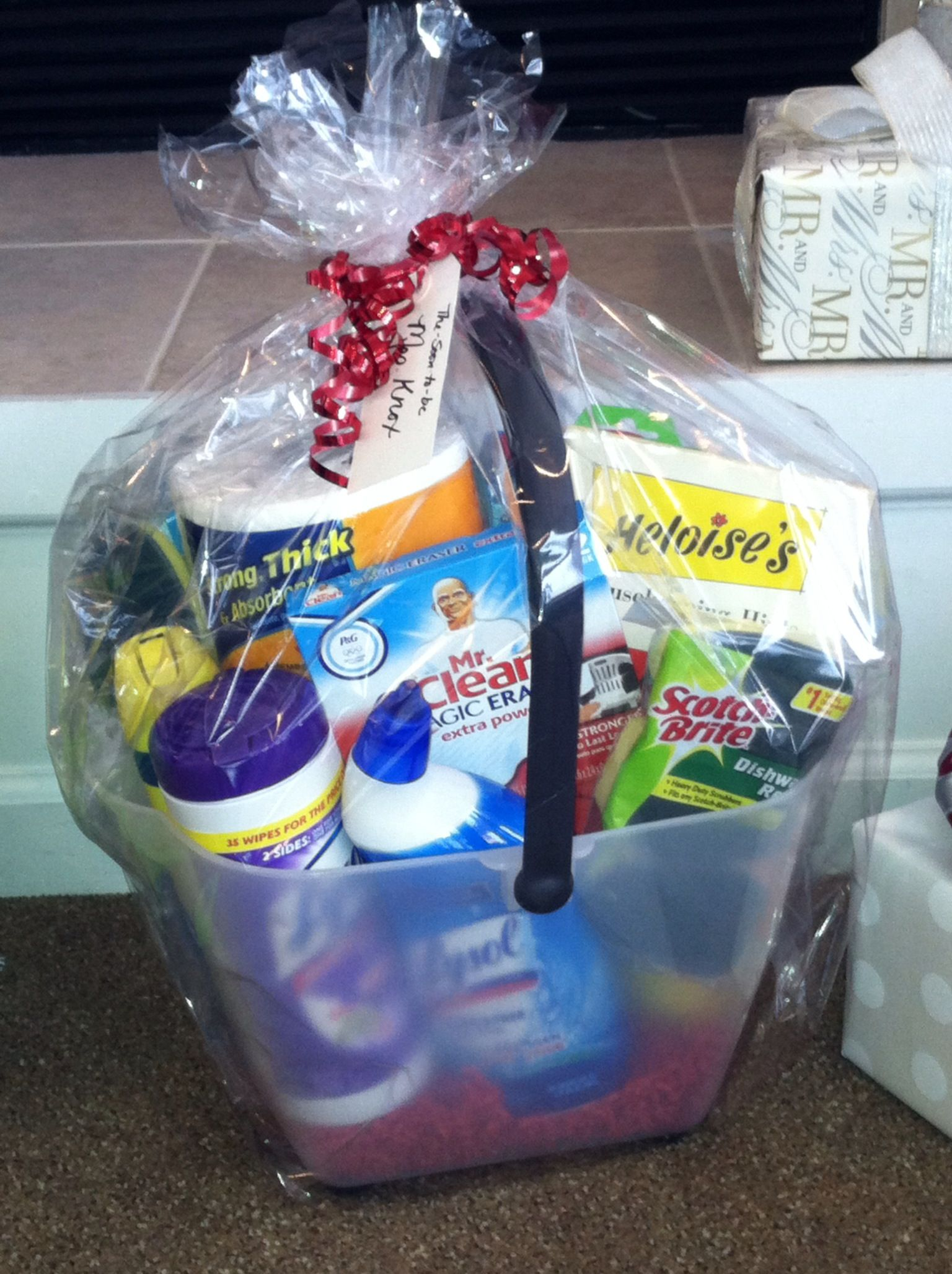 A Bucket Of Cleaning Supplies For Bridal Shower Gift Perfect The Neat Freak Bride