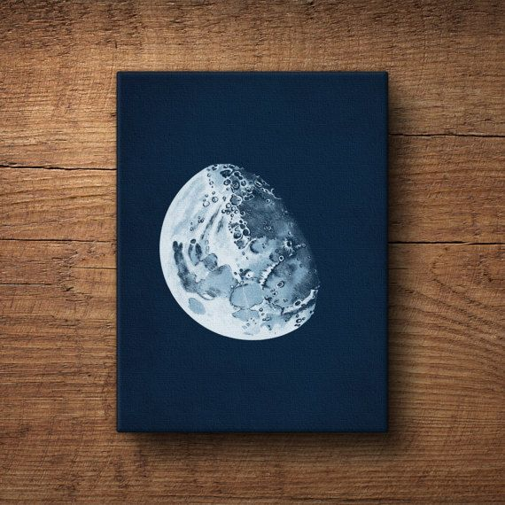 A nautical canvas print of the moon, adapted from a 100-year-old astronomy textbook. The vintage midnight background is antiqued with a delicate patina that looks great in any decor.  Professionally printed and gallery-wrapped over a solid frame, this canvas art poster is ready to hang in your home.  OTHER OPTIONS ❤ Buy this framed: http://etsy.me/2jwfafi ❤ Buy this unframed: http://etsy.me/2jwfafi  SEE MORE ❤ Astronomy & navigation: http://etsy.me&...