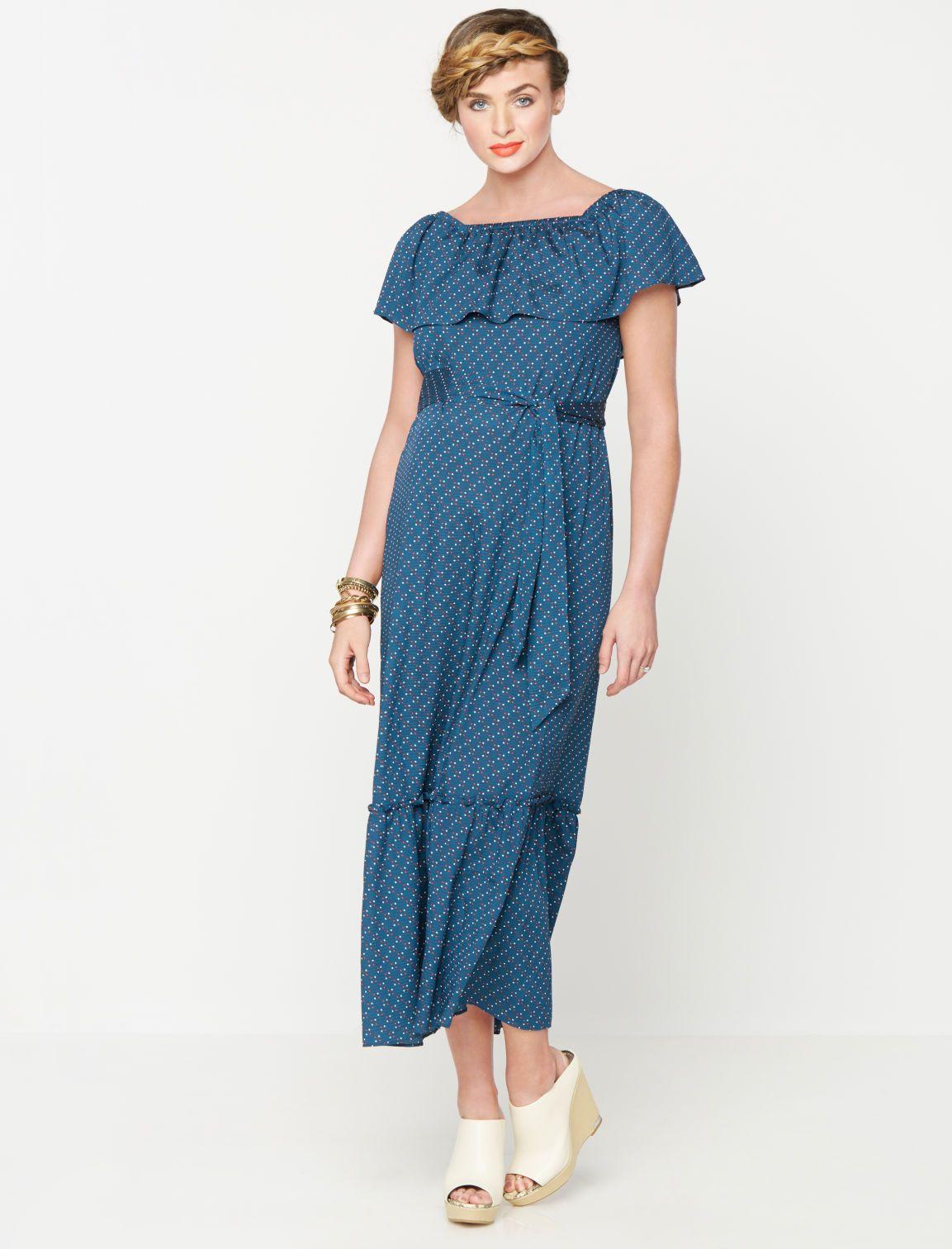 cb62e562f7fba Rachel Zoe Sleeveless Off The Shoulder Maternity Dress in Dot Print ...