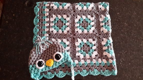 Granny Square Afghan, Crochet Baby Blanket, bird hat crochet set, Baby Afghan, set, Turquoise, White and Gray Blanket, Blue and Gray Nursery