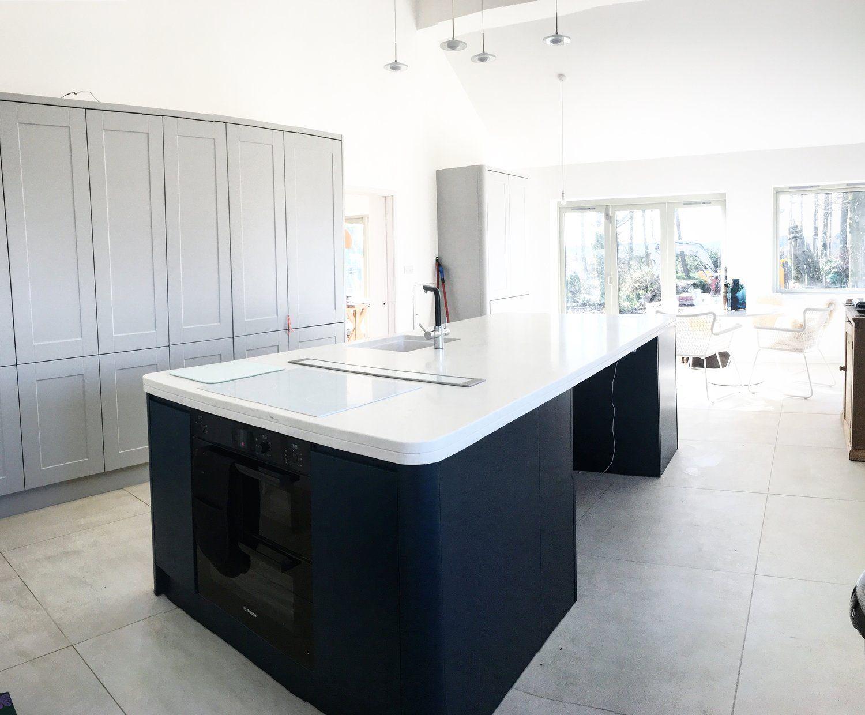 Beautiful light, modern kitchen. Mixed with