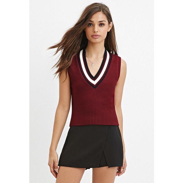 Forever 21 Women's  Varsity-Striped Sweater Vest ($11) ❤ liked on Polyvore featuring outerwear, vests, padded vest, red waistcoat, striped vest, sweater vest and v neck vest