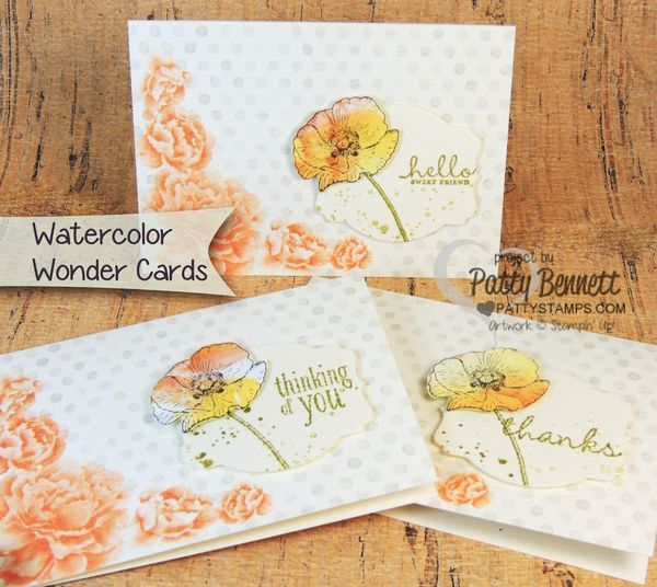 Watercolor Wonder Note Cards make quick and easy handmade cards for all occasions. by Patty Bennett www.PattyStamps.com