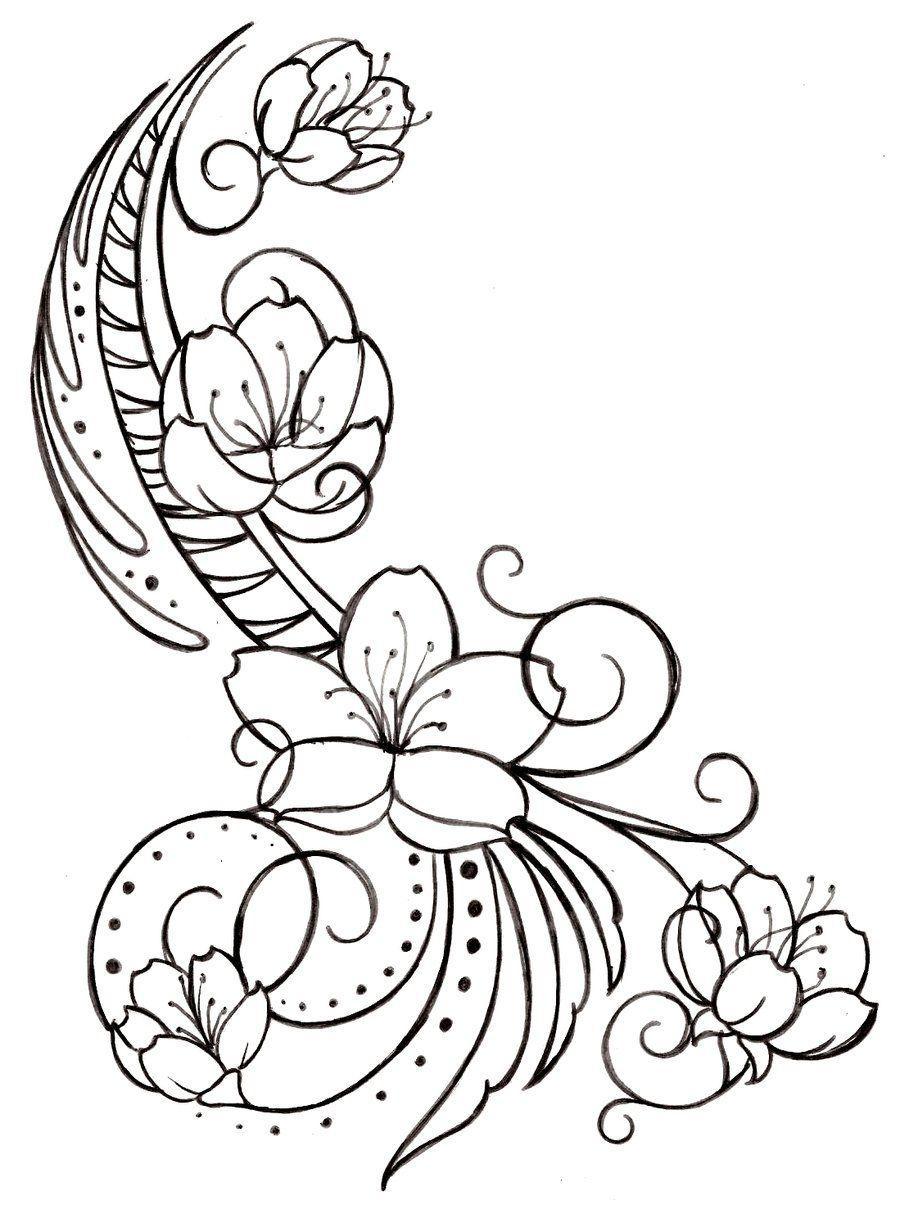 Cherry+Blossom+and+Swirls+Tattoo+by+Metacharis.deviantart.com+on+@ ...