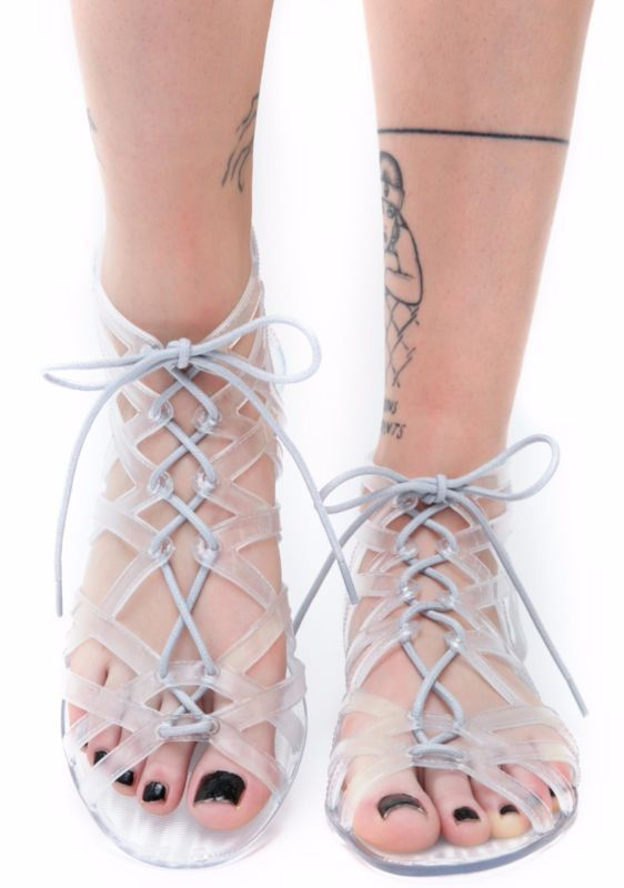 3085537e676a NEW Clear Lace Up Strappy Cut-Out Design Jelly PVC Gladiator Sandals ...
