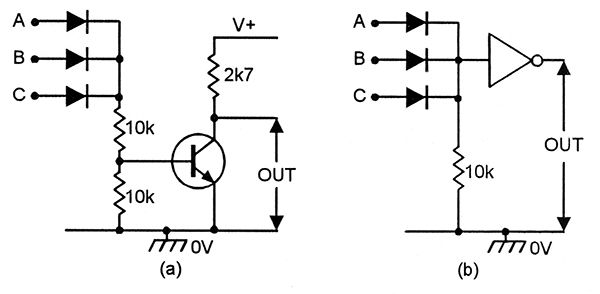a simple nor gate can be made by feeding the output of a diode or gate through a transistor or