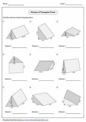 Volume Of Triangular Prisms Volume Worksheets Area Worksheets 7th Grade Math Worksheets Volume worksheets 7th grade